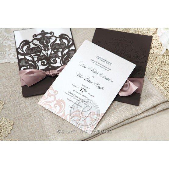 White Elegant Laser Cut Half Pocket with a Bow - Wedding invitation - 31
