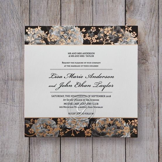 Black Gold Poppies in a Rose Garden - Wedding invitation - 36