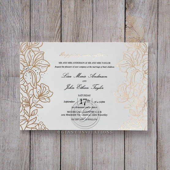 Foil Stamped Wedding Invitations: Gold Foil Stamped Lillies Wedding Invitations