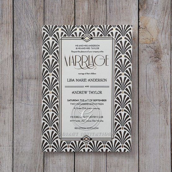 Black Dazzling Silver Foil Stamped - Wedding invitation - 45