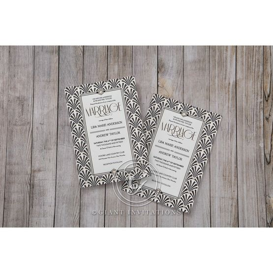 Black Dazzling Silver Foil Stamped - Wedding invitation - 34