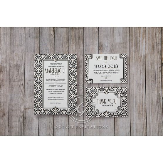Black Dazzling Silver Foil Stamped - Wedding invitation - 35
