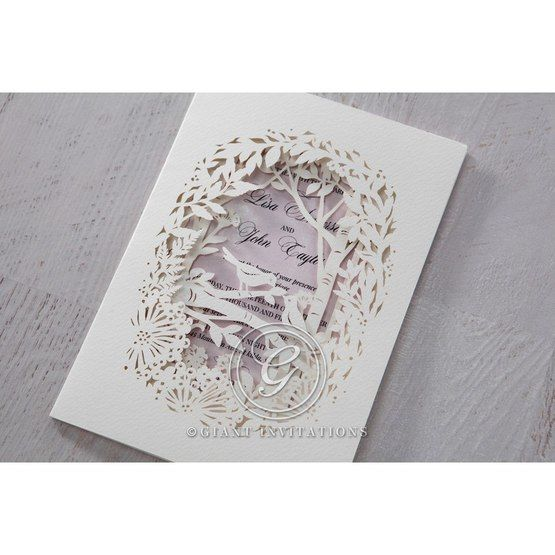 Purple Laser Cut Forest 3D Pocket - Wedding invitation - 60