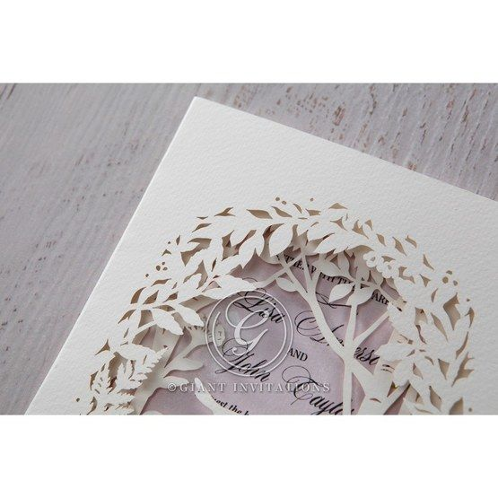 Purple Laser Cut Forest 3D Pocket - Wedding invitation - 61