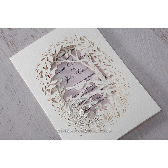 Purple Laser Cut Forest 3D Pocket - Wedding invitation - 63
