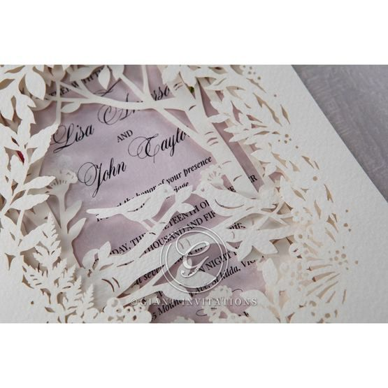 Purple Laser Cut Forest 3D Pocket - Wedding invitation - 64