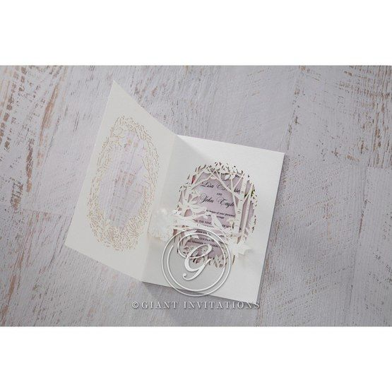 Purple Laser Cut Forest 3D Pocket - Wedding invitation - 65