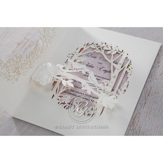 Purple Laser Cut Forest 3D Pocket - Wedding invitation - 66