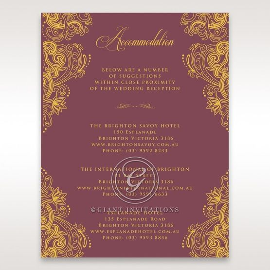 Imperial Glamour with Foil accommodation card DA116022-MS-F