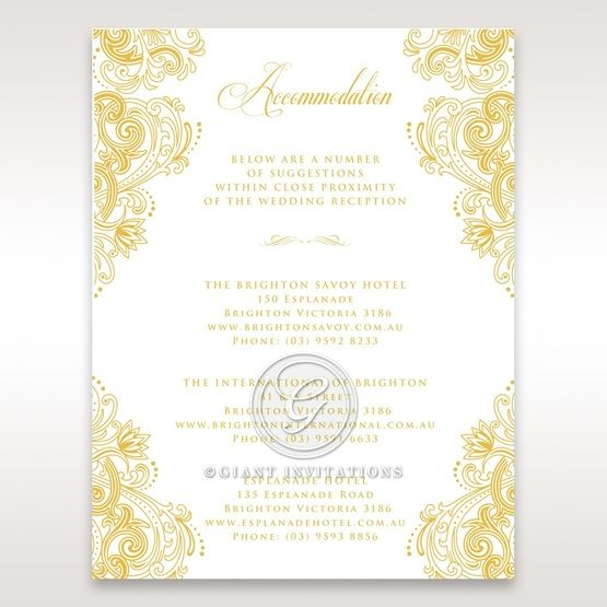 Imperial Glamour with Foil accommodation card DA116022-WH