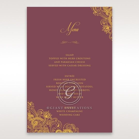 Imperial Glamour with Foil menu card DM116022-MS-F