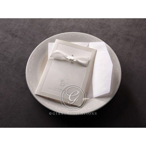 White, ribboned foil stamped cover wedding invite, with envelope
