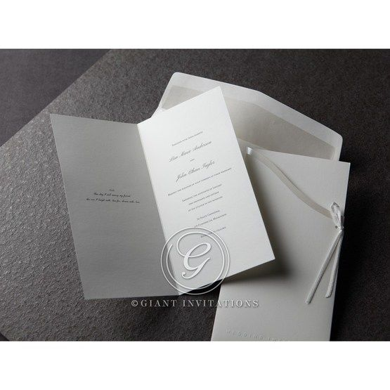 White unfolded invitation opened in the middle, white with thermography