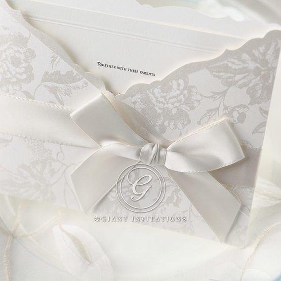 White floral pocket invitation ribbon detail
