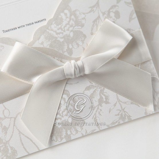 White ribbon pocket invitation closeup