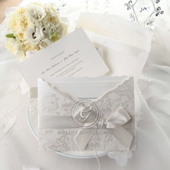 White floral invitation wedding cards with envelope