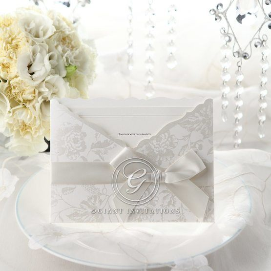 White ribbon floral wedding invitation, full view