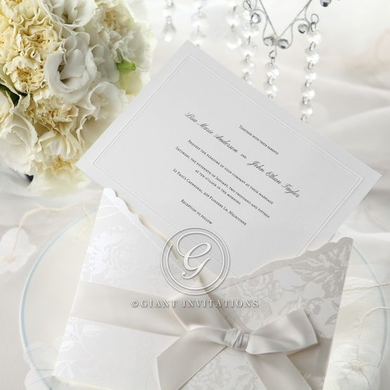 Wedding cards pulled out, white pocket invitation, flower and ribbon design