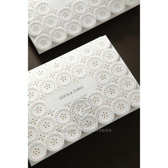 Laser Cut Button wedding invitations HB15102_14