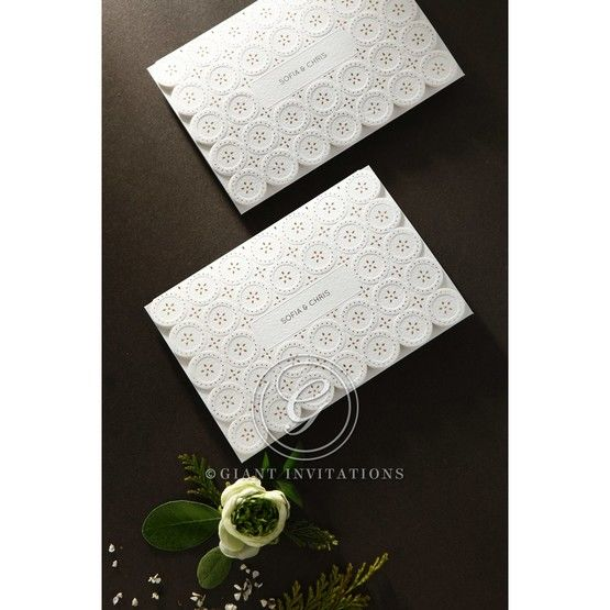 Laser Cut Button wedding invitations HB15102_15