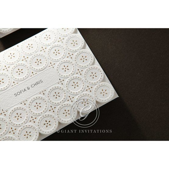 Laser Cut Button wedding invitations HB15102_16