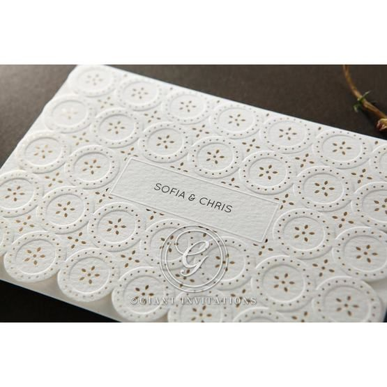 Laser Cut Button wedding invitations HB15102_2