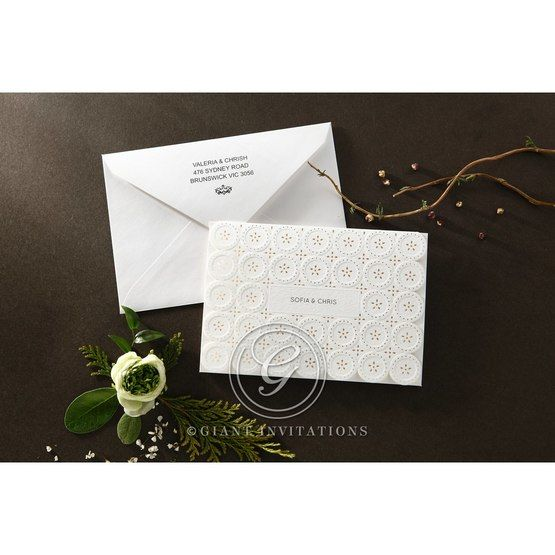 Laser Cut Button wedding invitations HB15102_4