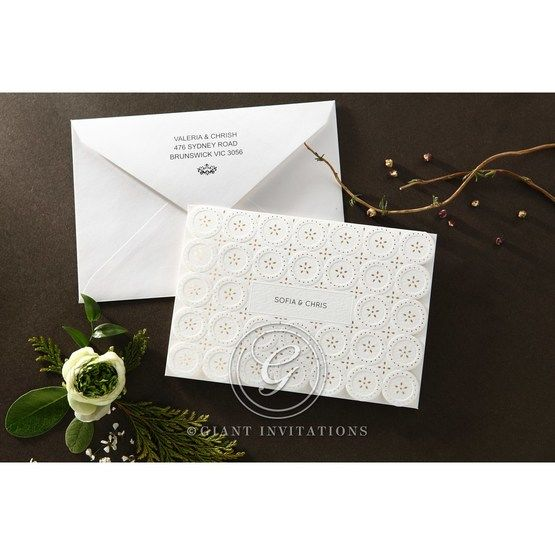 Laser Cut Button wedding invitations HB15102_5