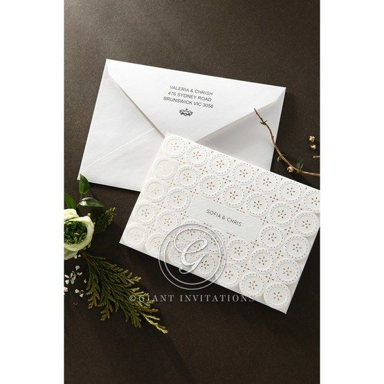 Laser Cut Button wedding invitations HB15102_6