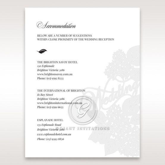Laser Cut Floral Wedding accommodation card DA15086