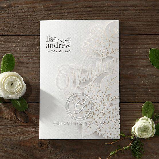 Laser Cut Floral Wedding wedding invitations HB15086