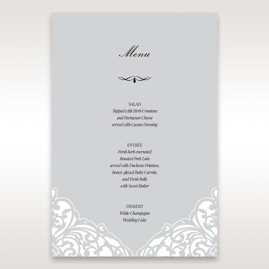 Silver/Gray Jeweled Romance Laser Cut - Menu Cards - Wedding Stationery - 65