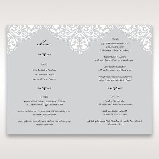 Silver/Gray Jeweled Romance Laser Cut - Menu Cards - Wedding Stationery - 83