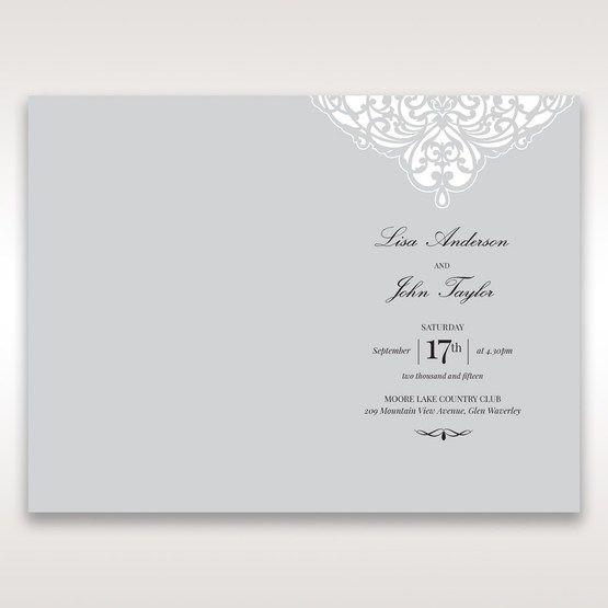 Silver/Gray Jeweled Romance Laser Cut - Menu Cards - Wedding Stationery - 84