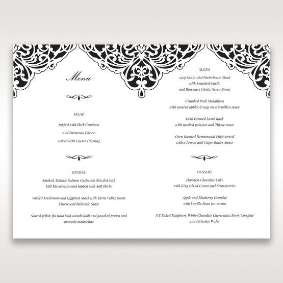 White Jeweled Romance Black Laser Cut - Menu Cards - Wedding Stationery - 95
