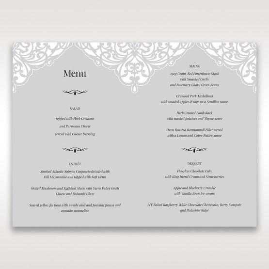 Silver/Gray Jeweled White Lasercut Pocket - Menu Cards - Wedding Stationery - 1
