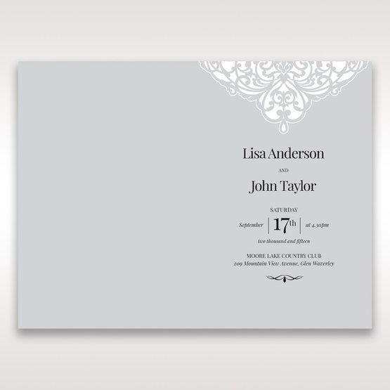 Silver/Gray Jeweled White Lasercut Pocket - Menu Cards - Wedding Stationery - 2