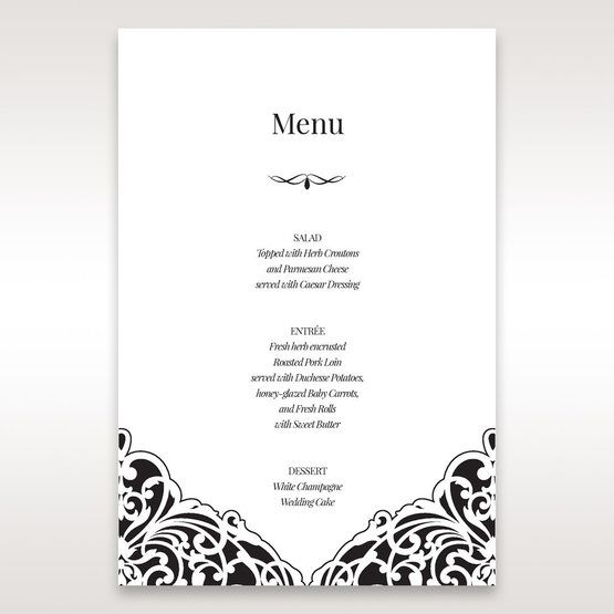 White Jeweled Romance Black Lasercut Pocket - Menu Cards - Wedding Stationery - 79