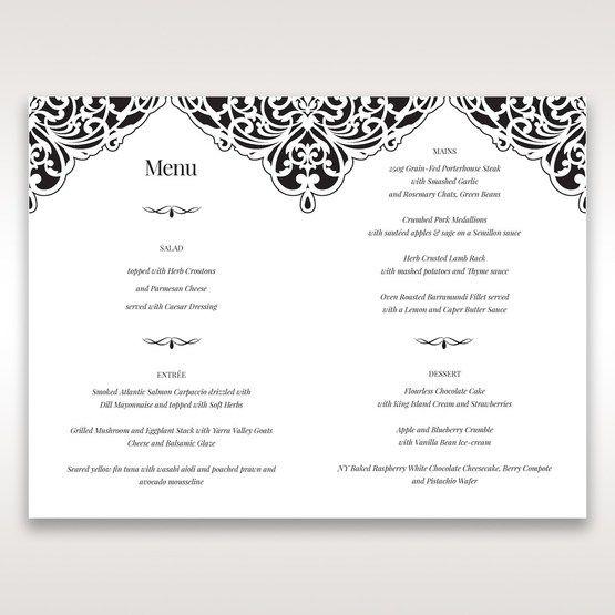 White Jeweled Romance Black Lasercut Pocket - Menu Cards - Wedding Stationery - 11