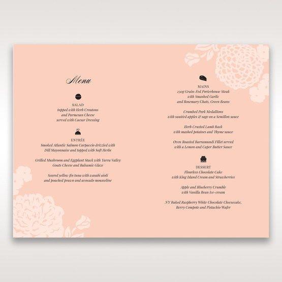 Pink Rustic Garden Laser Cut Pocket - Menu Cards - Wedding Stationery - 25