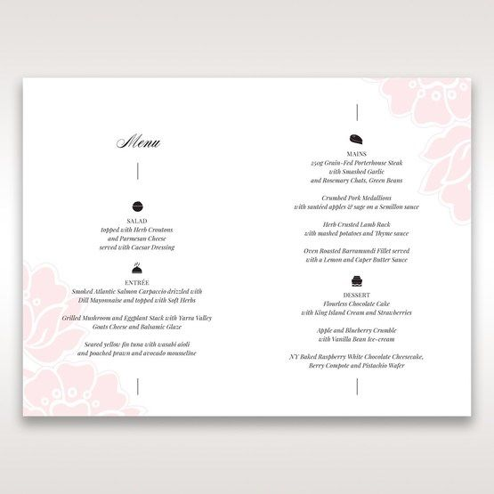 Pink Floral Laser Cut with Embossing - Menu Cards - Wedding Stationery - 39