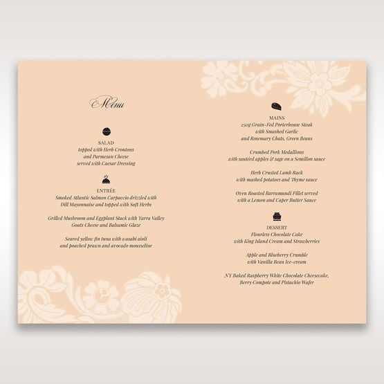 Beige White Laser Cut Wrap with Ribbon - Menu Cards - Wedding Stationery - 57