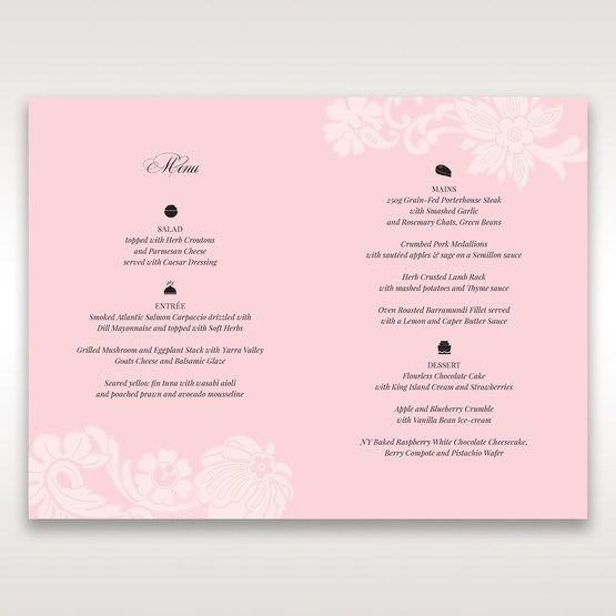 Pink Laser Cut Floral Half Pocket  - Menu Cards - Wedding Stationery - 73