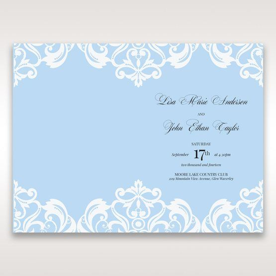 Blue Classy Laser Cut with White Bow - Menu Cards - Wedding Stationery - 78