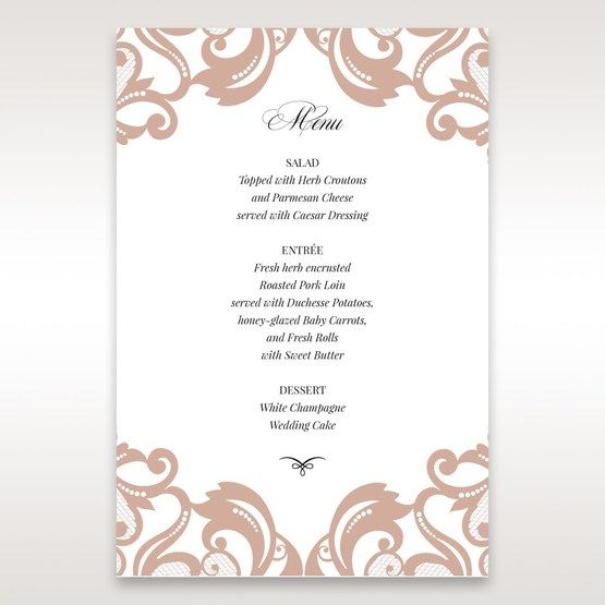 White Elegant Laser Cut Half Pocket with a Bow - Menu Cards - Wedding Stationery - 21