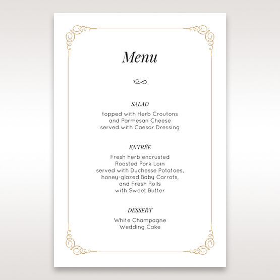 Yellow/Gold Embossed Borders with Classy Gold patterns - Menu Cards - Wedding Stationery - 55