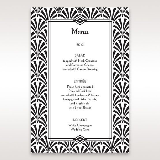 Black Dazzling Silver Foil Stamped - Menu Cards - Wedding Stationery - 57
