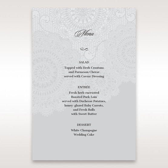 Silver/Gray Handmade Vintage Lace Floral - Menu Cards - Wedding Stationery - 50