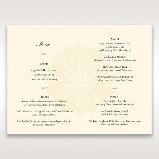Brown Embossed Swirls Hard Layer - Menu Cards - Wedding Stationery - 86
