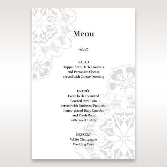 Black Laser Cut Floral Frame - Menu Cards - Wedding Stationery - 64